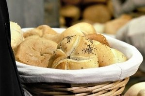 Sourdough bread rolls in a basket