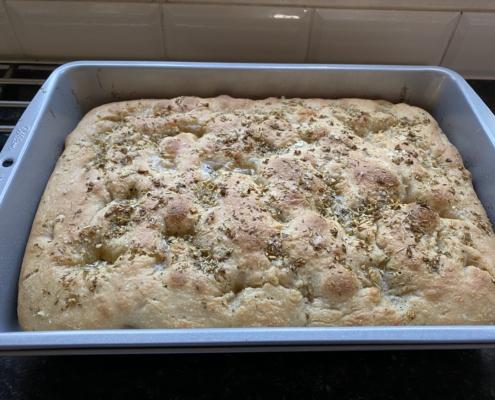 Sourdough focaccia in baking tray