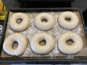 Shaped sourdhough bagels