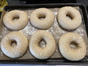 Sourdough bagels after boiling