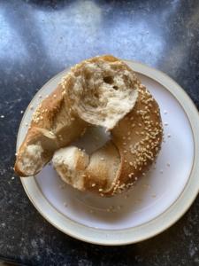 Inside of a sourdough bagel